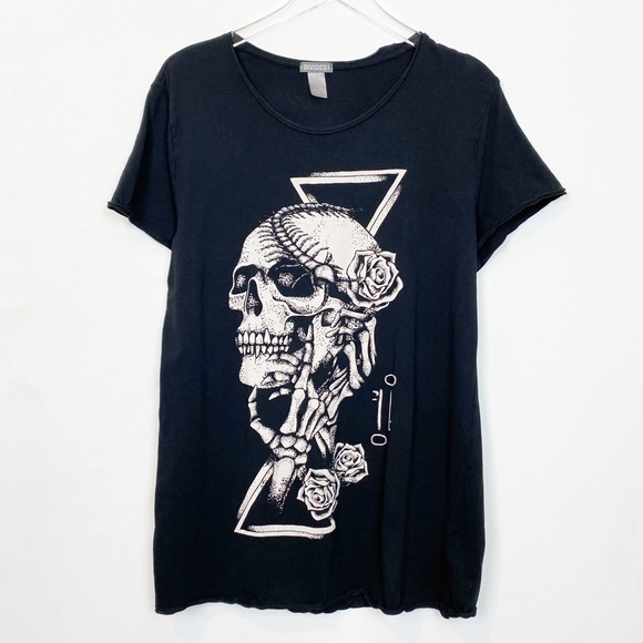 H & M Skull Graphic Tee Black Medium